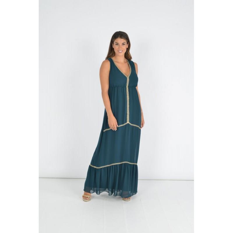 Οικονομικα Βραδινα Φορεματα - Φορεματα xxl - Φορεματα Φορεματα - Fuego Fashion - Φόρεμα με Τρέσες Χρυσές Μέγαλα Μεγέθη