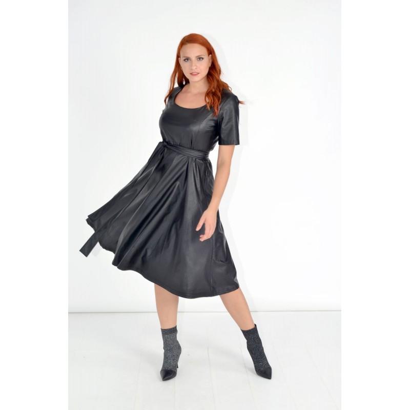 Φορεματα xxl - Φορεματα Φορεματα - Fuego Fashion - Φόρεμα Δερματίνη Κοντομάνικο Φορέματα xxl