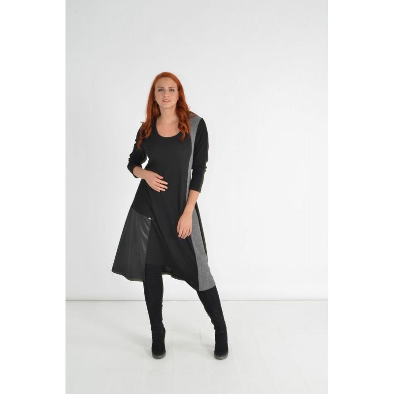 Οικονομικα Βραδινα Φορεματα - Φορεματα xxl - Φορεματα Φορεματα - Fuego Fashion - Φόρεμα RIB με Φάσες Φορέματα xxl