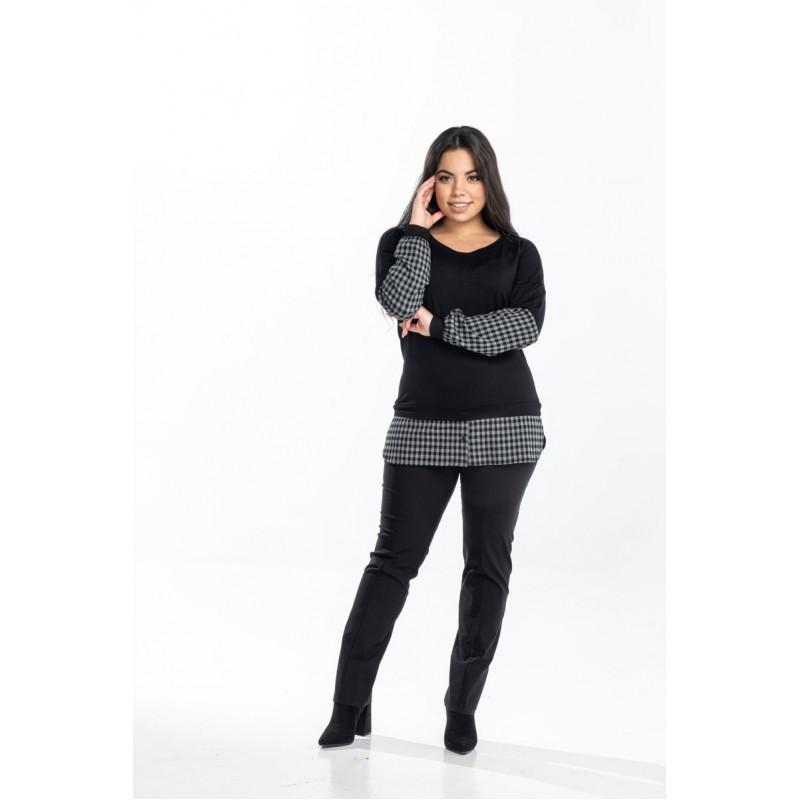 Μοντερνα plus size ρουχα - Μπλούζα με Ενσωματωμένο Πουκάμισο Μπλούζες xxl