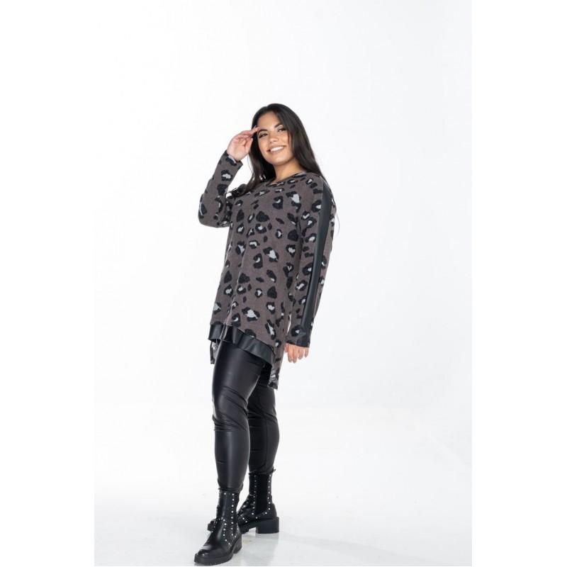 Μοντερνα plus size ρουχα - Μπλούζα Εμπριμέ με Σαμπρέλα Μπλούζες xxl