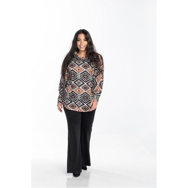 Μοντερνα plus size ρουχα - Μπλούζα Εμπριμέ Νυχτερίδα με Γιακά Μπλούζες xxl