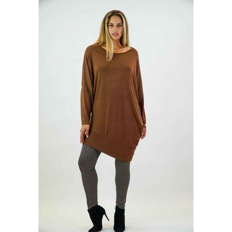 Μοντερνα plus size ρουχα - Μπλουζες xxl - Μπλουζες - Μπλούζοφόρεμα Πλεκτό Μπλούζες xxl