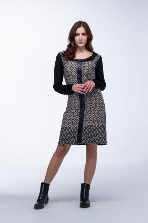 Φόρεμα Εμπριμέ με Δερματίνες