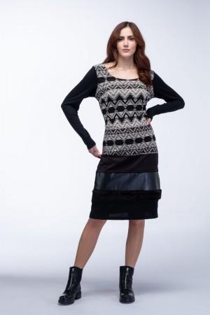 Φόρεμα Εμπριμέ με Γουνάκι Αλκαντάρα