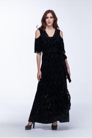 Φόρεμα Μάξι Δαντέλα Έξω Ώμους