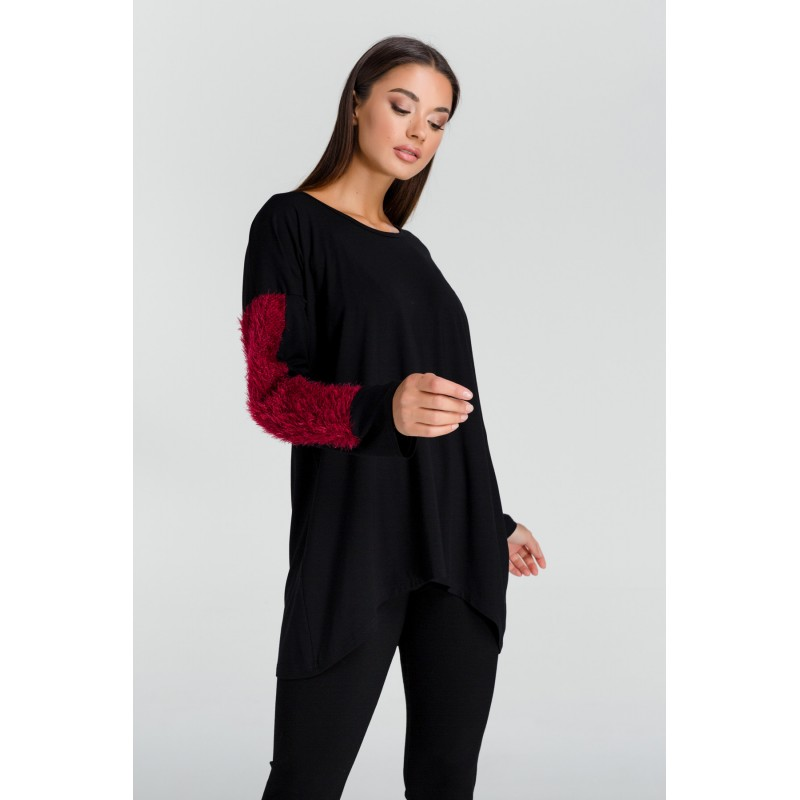Μοντερνα plus size ρουχα - Μπλουζες xxl - Μπλουζες - Fuego Fashion - Μπλούζα με Τρίχα στα Μανίκια  Μπλούζες xxl