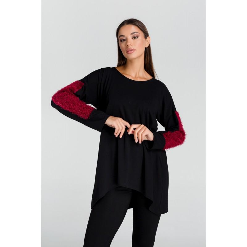 Μπλουζες xxl - Μπλουζες - Fuego Fashion - Μπλούζα με Τρίχα στα Μανίκια  Μπλούζες xxl