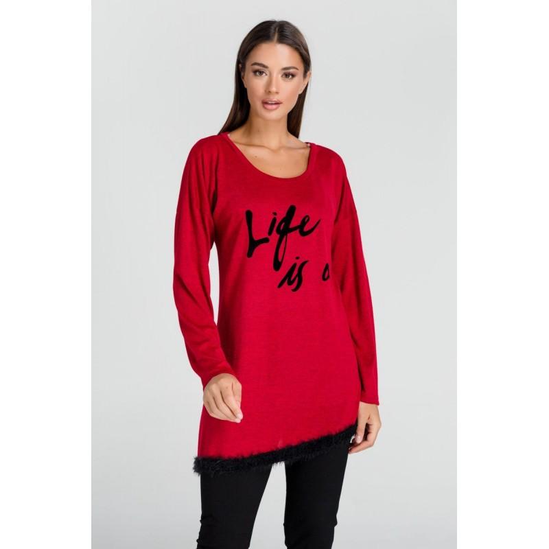 Μπλούζα Ασύμμετρη με Γούνα Μπλούζες xxl