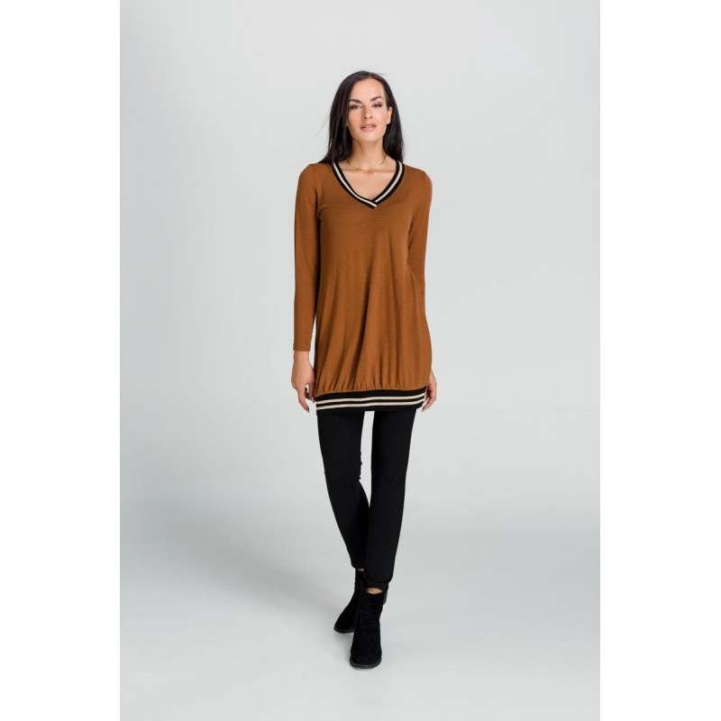 Μοντερνα plus size ρουχα - Μπλουζες xxl - Μπλουζες - Fuego Fashion - Μπλούζα με Λάστιχο στο V Μπλούζες xxl