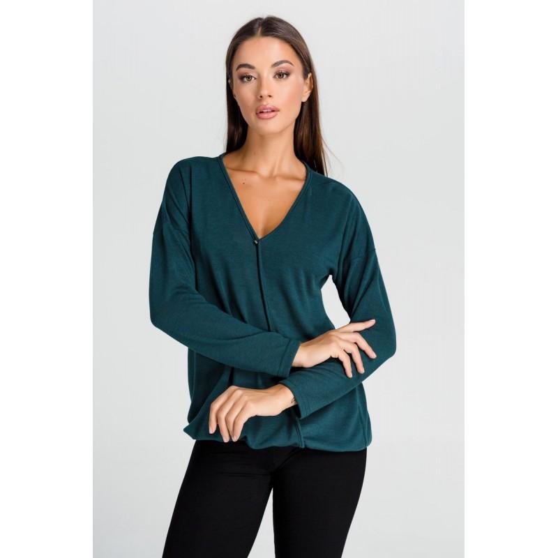 Μοντερνα plus size ρουχα - Μπλουζες xxl - Μπλουζες - Fuego Fashion - Μπλούζα Κοντή με Λάστιχα  Μπλούζες xxl