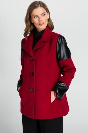 Παλτό με Τελειώματα Δερμάτινης