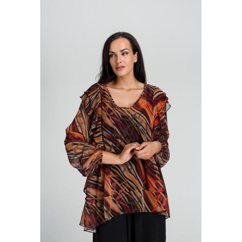 Fuego Fashion - Πουκαμίσα Εμπριμέ με Βολάν