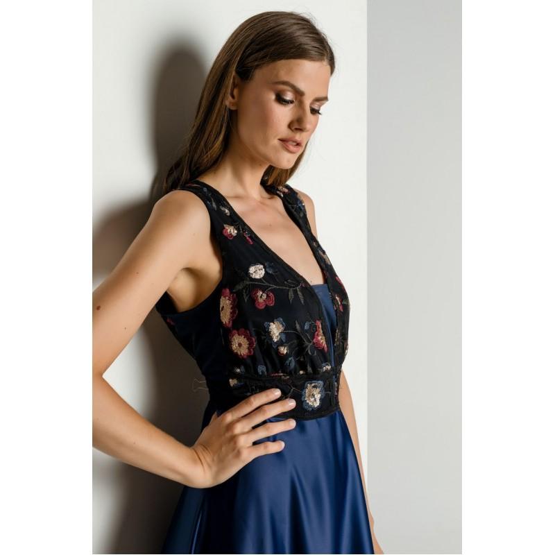 Οικονομικα Βραδινα Φορεματα - Φορεματα xxl - Φορεματα Φορεματα - Fuego Fashion - Φόρεμα με Τούλι Κέντημα Μεγάλα Μεγέθη