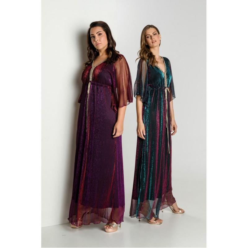 Οικονομικα Βραδινα Φορεματα - Φορεματα xxl - Φορεματα Φορεματα - Fuego Fashion - Φόρεμα με Δίχτυ Λούρεξ Μελανζέ Μεγάλα Μεγέθη