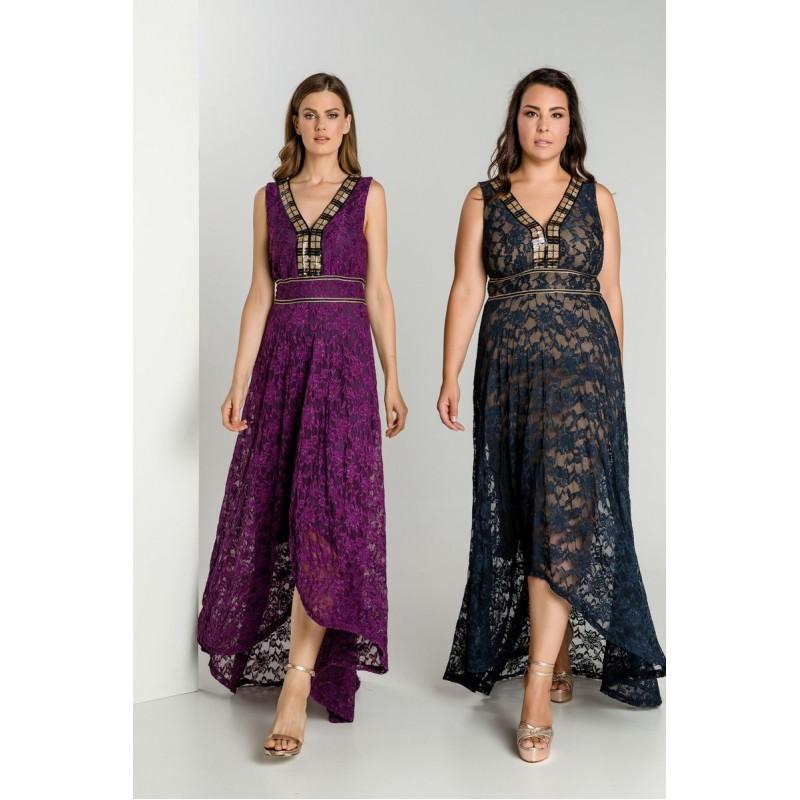 Οικονομικα Βραδινα Φορεματα - Φορεματα xxl - Φορεματα Φορεματα - Fuego Fashion - Φόρεμα Δαντέλα με Τρέσα Μεγάλα Μεγέθη