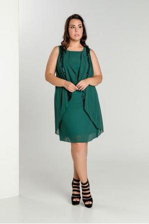 Φόρεμα Κοντό με Παγιέτα και Βολάν