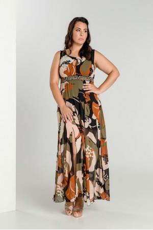 Φόρεμα Μάξι Εμπριμέ με Animal Ζώνη