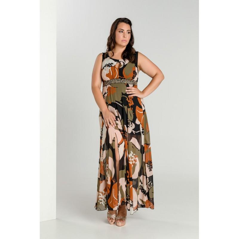 Οικονομικα Βραδινα Φορεματα - Φορεματα xxl - Φορεματα Φορεματα - Fuego Fashion - φορεματα μαξι εμπριμε με animal ζωνη