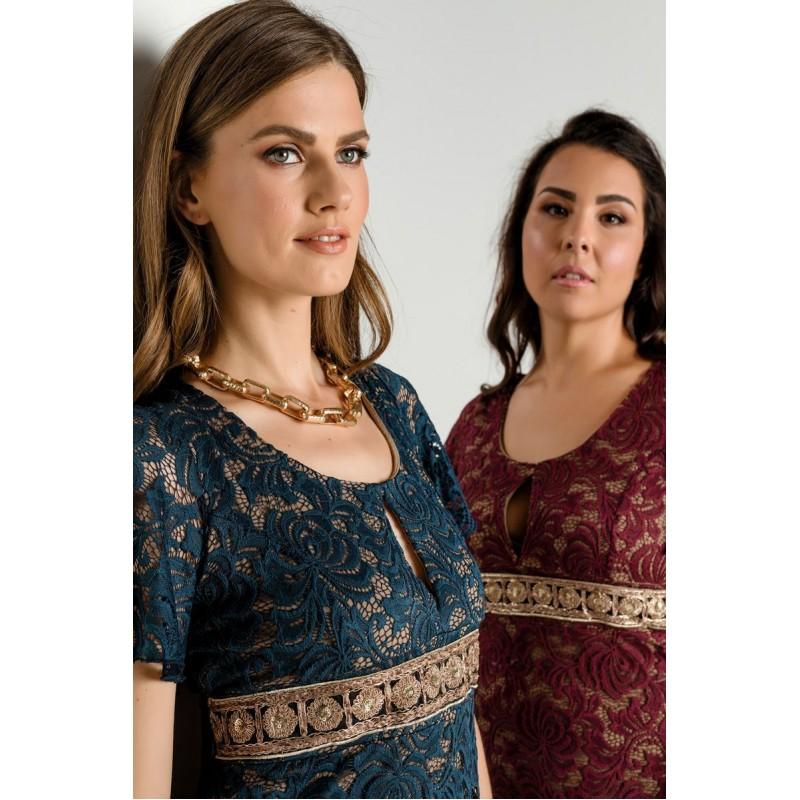 Οικονομικα Βραδινα Φορεματα - Φορεματα xxl - Φορεματα Φορεματα - Fuego Fashion - Φόρεμα Δαντέλα Κοντό με Τρέσα Μεγάλα Μεγέθη