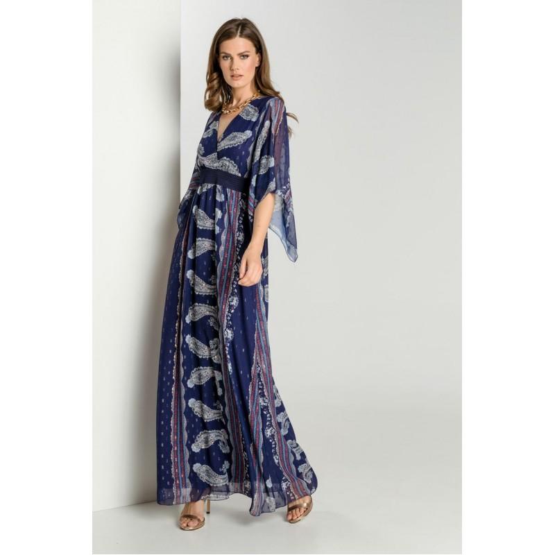 Φόρεμα Μουσελίνα Λαχούρια Μώβ Φορέματα xxl
