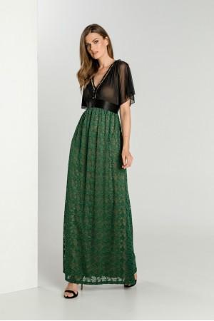 Φόρεμα Μάξι Τούλι Δαντέλα και Δέσιμο Πίσω