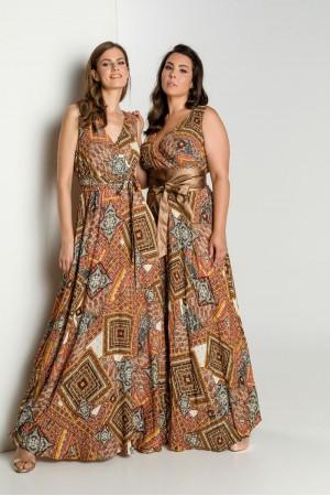 Φόρεμα Εμπριμέ με Κρουαζέ