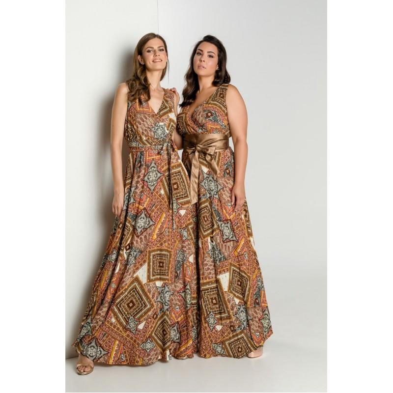 Φόρεμα Εμπριμέ με Κρουαζέ Φορέματα xxl