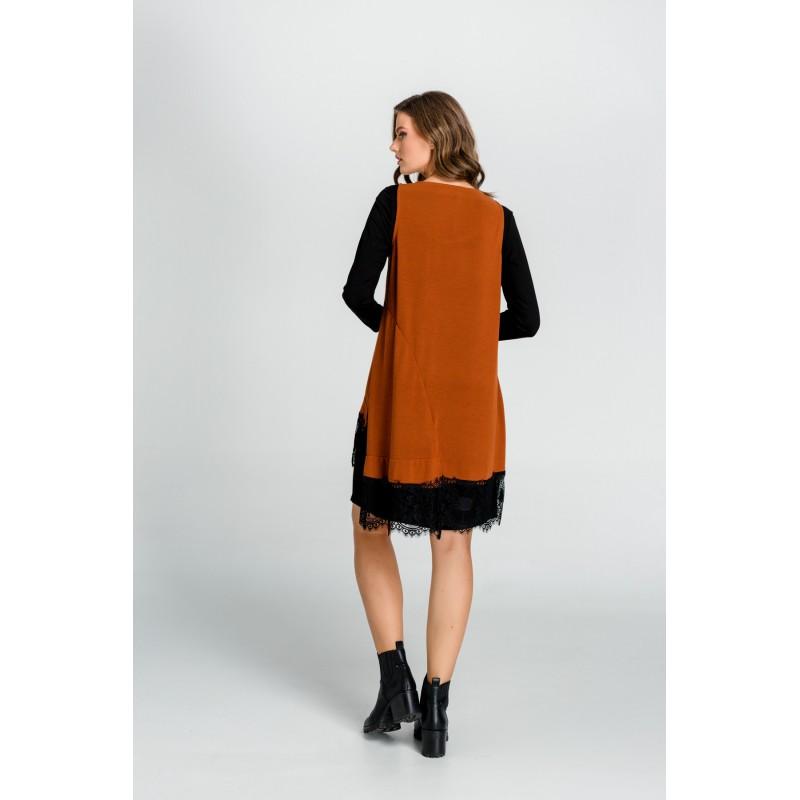 Φορεματα xxl - Φορεματα Φορεματα - Fuego Fashion - φορεματα mini διπλο με δαντελα στο τελειωμα