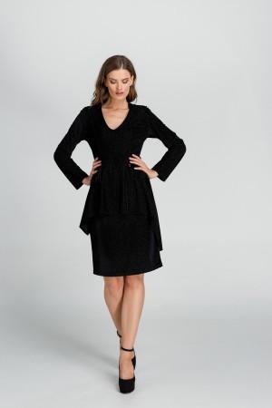 Φόρεμα Μίνι Βελούδο Ασύμμετρο με Βολάν