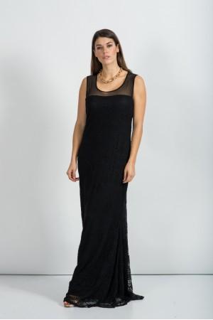 Φόρεμα Μάξι Γοργονέ Αμάνικο με Δαντέλα