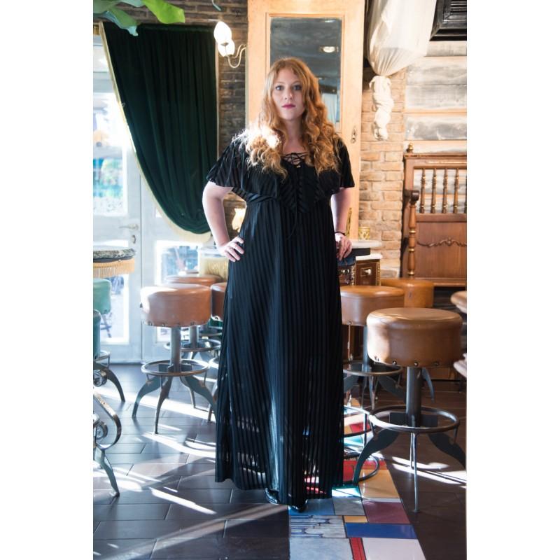 Fuego Fashion - Φορεματα xxl – φορεματα μαξι με ριγα και βουλα