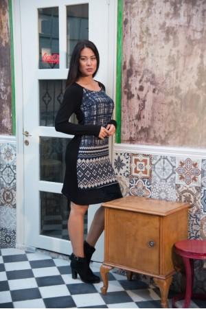 Φόρεμα Μίντι Εμπριμέ με Γούνα