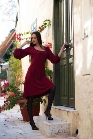 Φόρεμα Μίντι με Βολάν στα Μανίκια