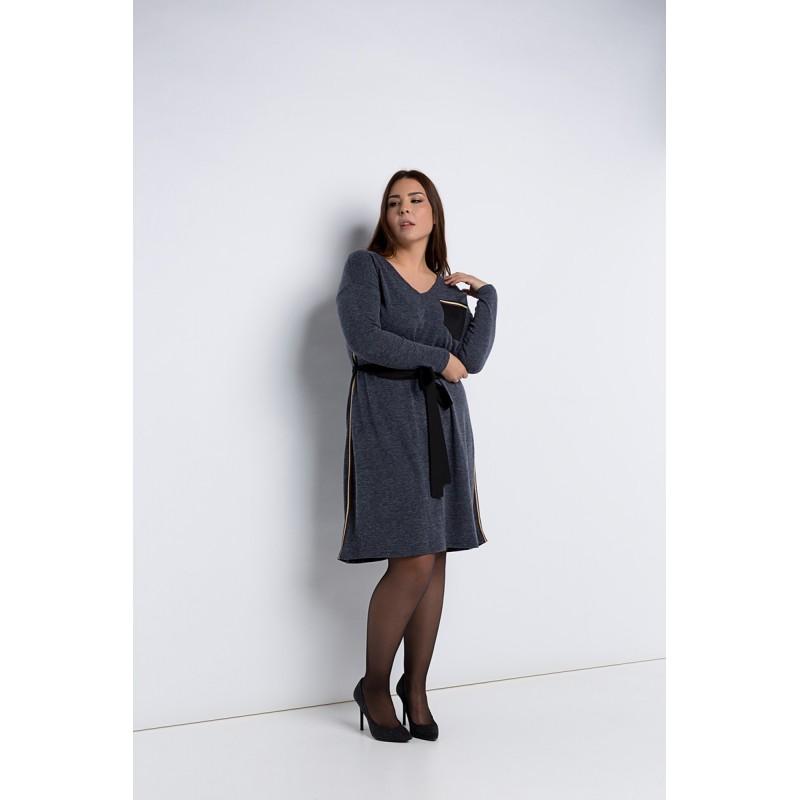 Fuego Fashion - φορεματα μιντι πλεκτα με ριγες